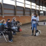 Liz and border collie bizzy get ready to compete