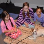 Movie dog Zoey meets her costars
