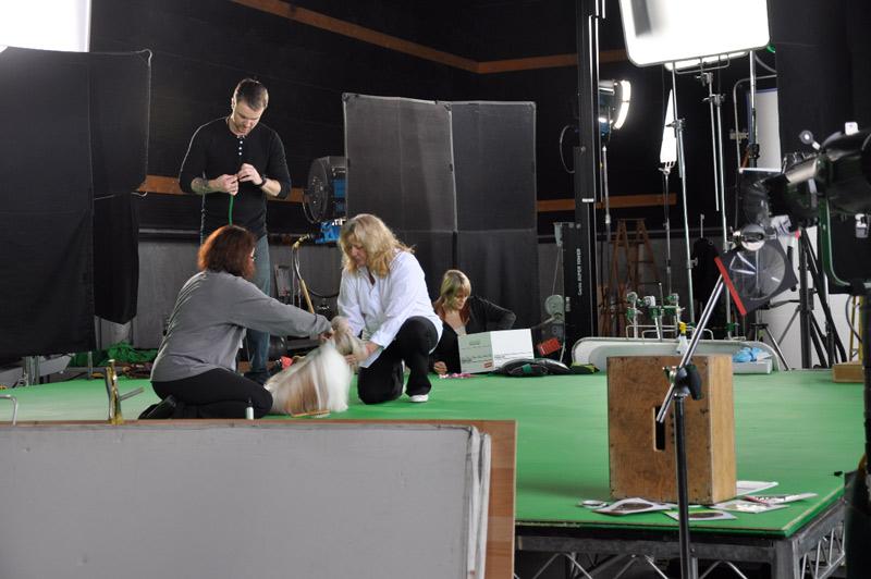 Prepping on set